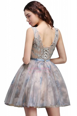 Lace-up Short Sleeveless Cute Belt Straps Flowers Homecoming Dress_5