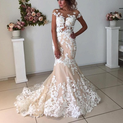 Champagne Pink Lace Appliques Wedding Dresses  | Short Sleeves Mermaid Backless Bridal Dress_3