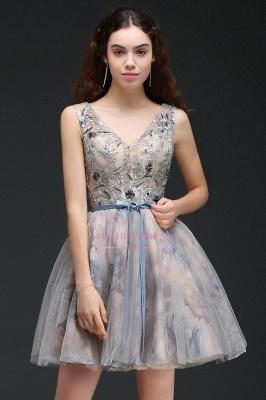 Lace-up Short Sleeveless Cute Belt Straps Flowers Homecoming Dress_4