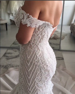 Alluring Off-the-Shoulder Backless Wedding Dresses Beaded Mermaid Bridal Gowns Online_5