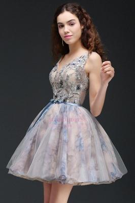 Lace-up Short Sleeveless Cute Belt Straps Flowers Homecoming Dress_2