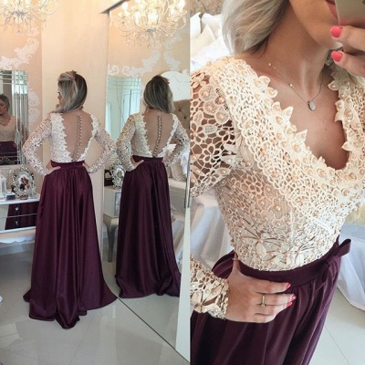 New Arrival Long Sleeve Beading Evening Gown V-Neck Lace A-Line Prom Dress_1