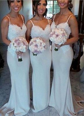 Spaghetti Strap Mermaid Floor Length Bridesmaid Dresses Open Back Lace Wedding Party Dresses BO9564_1