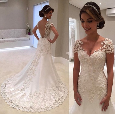 Gorgeous Lace Short Sleeves Bride Dresses  Mermaid Wedding Dress_4