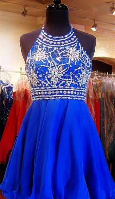 Crystal Halter Royal Blue Mini Homecoming Dress with Rhinestones  Open Back Short Cocktail Dress_1
