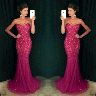 Sparkly Crystals Sequins Mermaid Prom Dress  Sweetheart Long Evening Gown   GA096_4