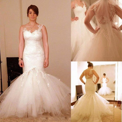 Classic Mermaid lace Appliques Wedding Dresses  Sheer Back Bridal Gowns_3