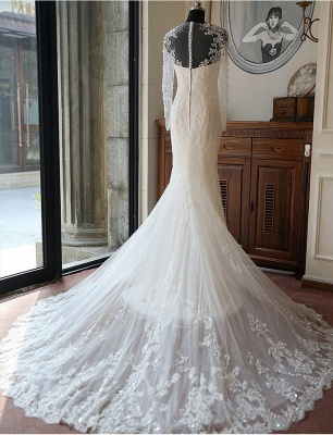 Vintage Long Sleeve Mermaid Tulle Bridal Gown New Arrival Court Train Wedding Dresses_2