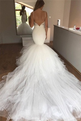 Mermaid Lace Wedding Dresses  | V-neck Straps Open Back Sexy Bridal Dresses with Tulle Train_3