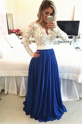 Royal Blue  Lace V Neck Popular Evening Dress with Long Sleeve Pearl Belt Long Prom Dresses BMT017_1