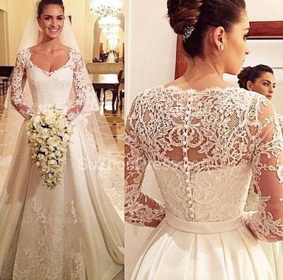 Princess A Line Satin Wedding Dress White Lace V Neck Long Sleeve  Bridal Gowns_3