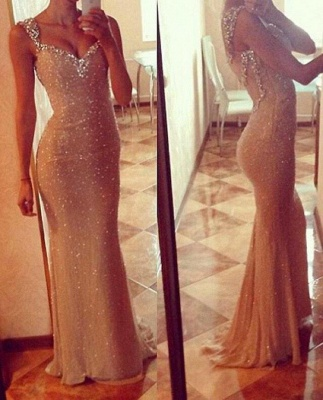 Glorious Prom Dresses Spaghetti Straps Sequineds Beading Floor Length Evening Gowns_1