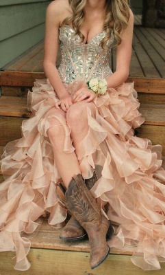 Latest Crystal Side Organza Prom Dress with Rhinestones Sweetheart Floor Length Dresses for Women_1