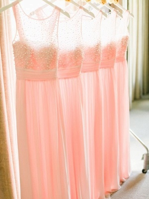 Empire Pink Chiffon Long Bridesmaid Dress with Beadings  Cute Floor Length Wedding Dresses_2