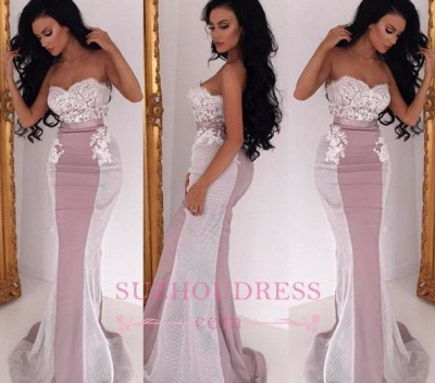 Lace Sweep Train Sleeveless Sweetheart Evening Gowns  Sexy Mermaid Bridesmaid Dress_1
