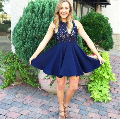 Lace Appliques A-line Sleeveless Modern Navy Blue Homecoming Dress_1