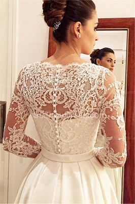 Princess A Line Satin Wedding Dress White Lace V Neck Long Sleeve  Bridal Gowns_2