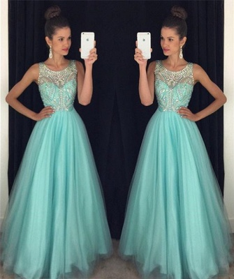 Light Blue Crystal Long Party Dress A-Line Halter Open Back Prom Dresses GA001a_3
