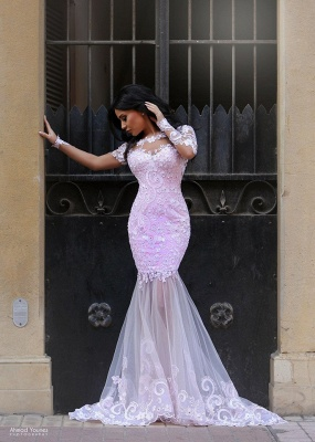 Blushing Pink Prom Dresses Long Sleeve Lace Sexy Evening Dress  MH061_4