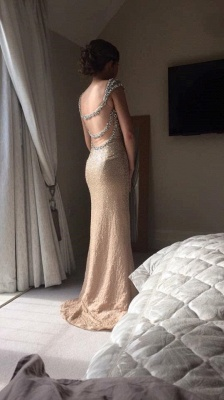 Glorious Prom Dresses Spaghetti Straps Sequineds Beading Floor Length Evening Gowns_3