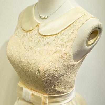 Elegant Lace Taffeta Short Bridesmaid Dresses Cute Zipper Mini Cocktail Dress with Sash_2