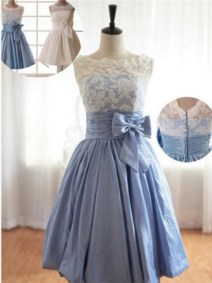 Cap Sleeve Flower Girl Dresses  Scoop Lace Neck Bow Lovely A Line Satin Pageant Dress_1