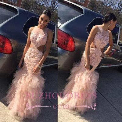 Tulle Lace  Mermaid Elegant Sleeveless Floor-Length Prom Dress_1