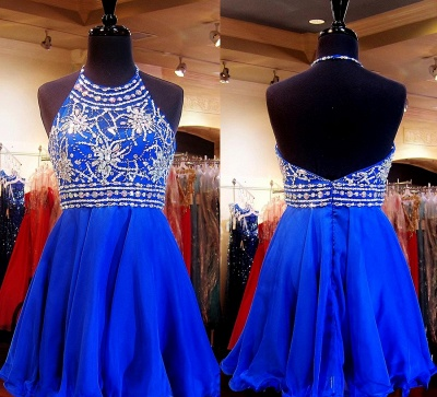 Crystal Halter Royal Blue Mini Homecoming Dress with Rhinestones  Open Back Short Cocktail Dress_2