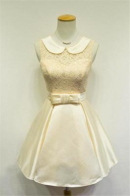 Elegant Lace Taffeta Short Bridesmaid Dresses Cute Zipper Mini Cocktail Dress with Sash_1