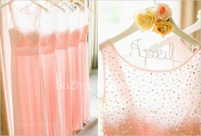 Empire Pink Chiffon Long Bridesmaid Dress with Beadings  Cute Floor Length Wedding Dresses_3