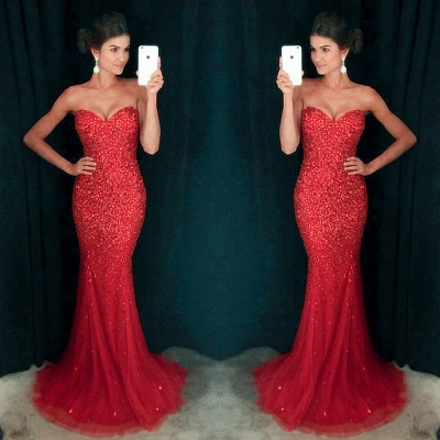 Sparkly Crystals Sequins Mermaid Prom Dress  Sweetheart Long Evening Gown   GA096_3