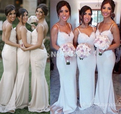 Spaghetti Strap Mermaid Floor Length Bridesmaid Dresses Open Back Lace Wedding Party Dresses BO9564_3
