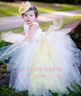 Tulle Scoop Sleeveless Ball-Gown Flower-Girl-Dresses  Pearls Pageant Dress_3