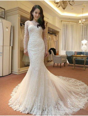 Vintage Long Sleeve Mermaid Tulle Bridal Gown New Arrival Court Train Wedding Dresses_3