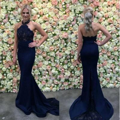 Long Navy Appliques Lace Mermaid Gorgeous Halter Evening Dress_1
