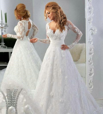 Latest Long Sleeve Empire Lace Bridal Dress A-Line Halter Empire Plus Size Wedding Gowns_2