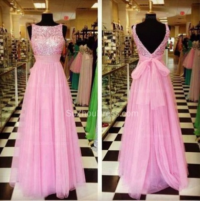 Pink Bateau Sequined Evening Dresses  Tulle A-Line Elegant Prom Gowns_2