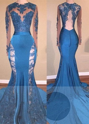 Glamorous Long Sleeves Applqiues Prom Dresses  | Mermaid Open Back Evening Dresses BA8261_1