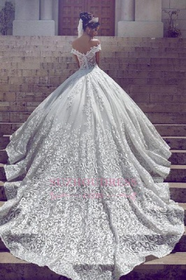 New Off-the-Shoulder Long Gorgeous Lace Short Sleeve Wedding Dresses_1