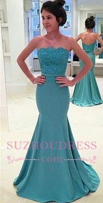 Sash Mermaid Long Green Lace Strapless Evening Gowns_3