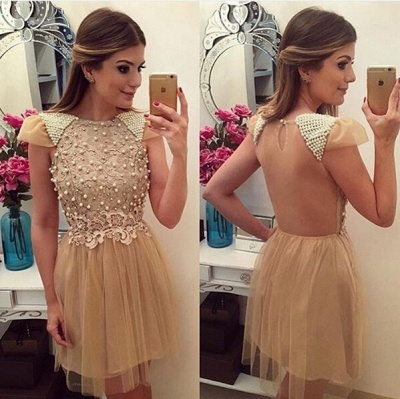 Cute Beading Lace Homecoming Dresses A-Line  Open Back Cocktail Gowns_3