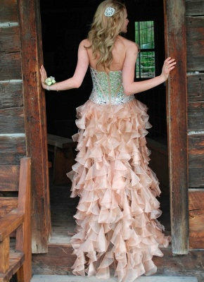 Latest Crystal Side Organza Prom Dress with Rhinestones Sweetheart Floor Length Dresses for Women_2