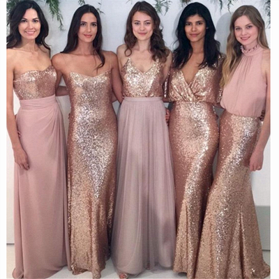 Sexy Sequins  Bridesmaid Dresses | Chiffon Floor Length  Maid Of Honor Dresses Online_4