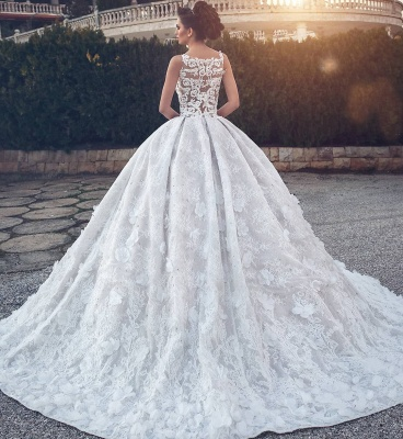 Lace Appliques Sexy Sleeveless Wedding Dresses | Princess Ball Gown V-neck  Bridal Gowns_4