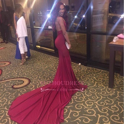 Long Side Slit Simple Evening Gown  Open Back Burgundy Mermaid  Prom Dresses_3