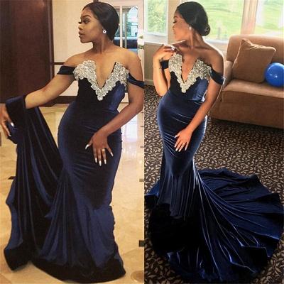 Off The Shoulder Velvet Prom Dresses | Mermaid Beads Appliques Evening Dress_3