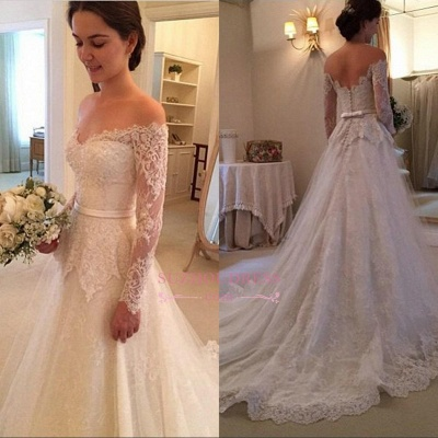 Long Sleeves Off-The-Shoulder New Arrival Bridal Gowns Lace  Wedding Dress_1