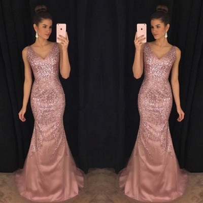 Pink Mermaid Sleeveless Evening Dresses | Crystal V-Neck Prom Dresses_3