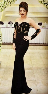 Sexy Mermaid Black Evening Dress  Long Sleeve Appliques Sheer Formal Dress_1