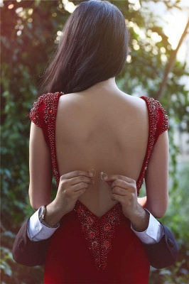 Gorgeous  Red Evening Dresses V-neck Backless Mermaid Prom Gowns MH071_5